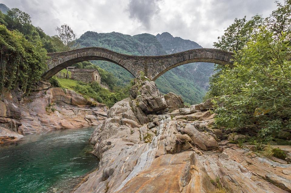 Schweizer Landschaft mit Brücke